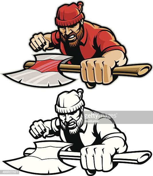 bildbanksillustrationer, clip art samt tecknat material och ikoner med lumberjack charge - charge