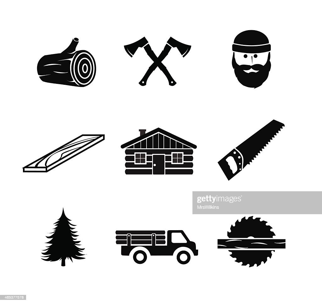 Lumberjack icon set vector illustration