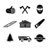 Lumberjack icon set vector illustration