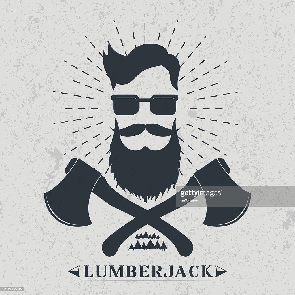 Lumberjack label, logo, t-shirt design Vector illustration