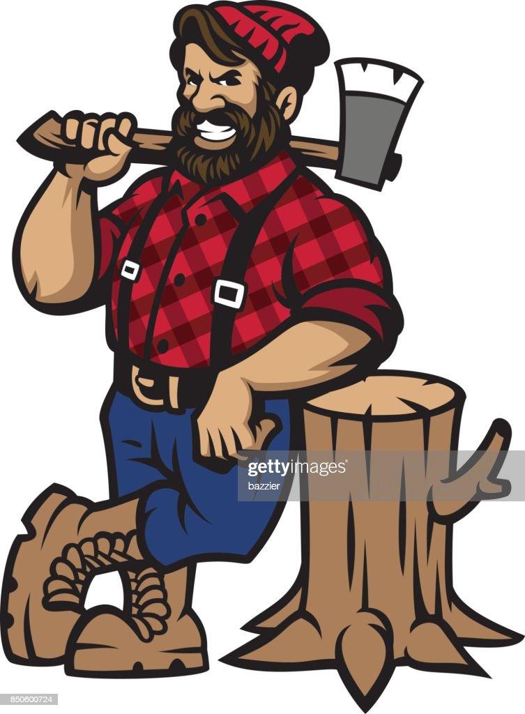 lumberjack lean on the wood log