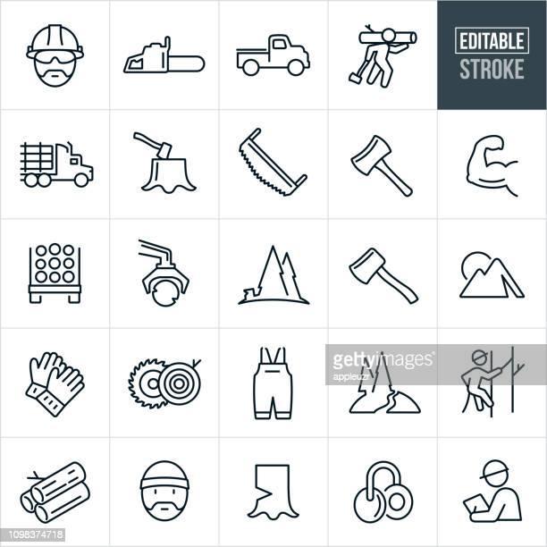 ilustrações, clipart, desenhos animados e ícones de lenhador linha ícones - stroke editável - madeira