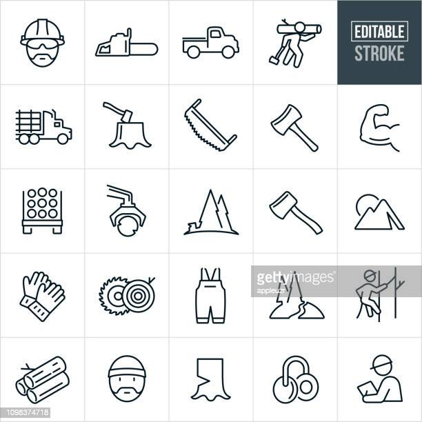 holzfäller linie symbole - editierbare schlaganfall - naturwald stock-grafiken, -clipart, -cartoons und -symbole