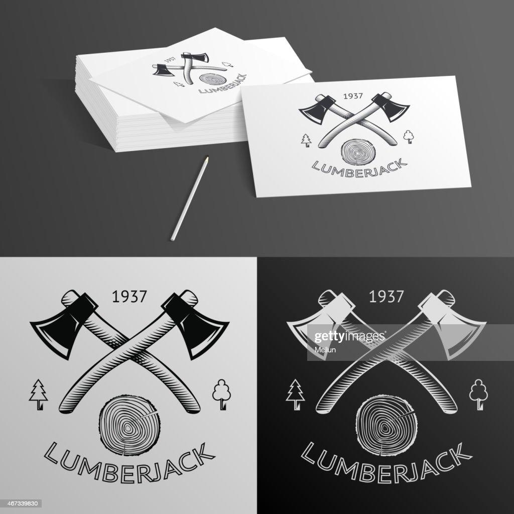 Lumberjack Logo Symbol Hatchet Axe Wood Rings Cut Tree Trunk