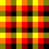 Lumberjack plaid pattern in red, yellow and black. Seamless vector pattern. Simple vintage textile design in colors of german flag