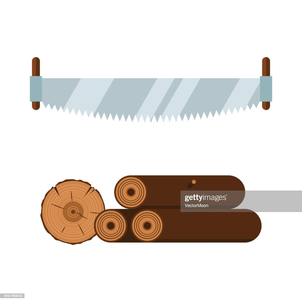 Lumberjack Saw And Wood Tools Icons Vector Illustration Stock