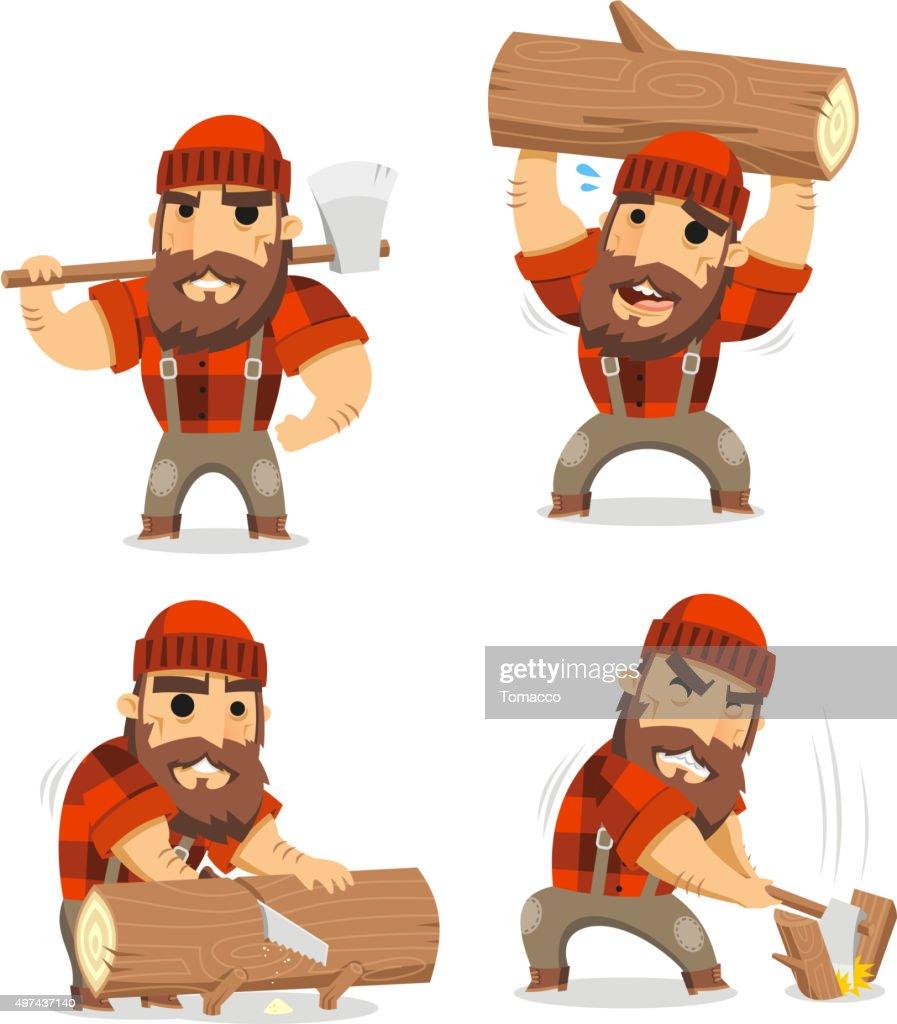 Lumberjack timber cutting wood