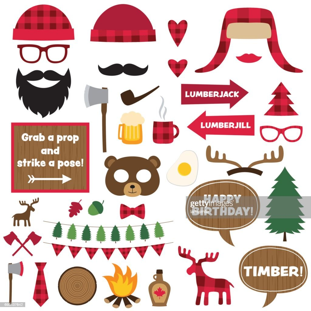 Lumberjack vector elements and photo booth props set