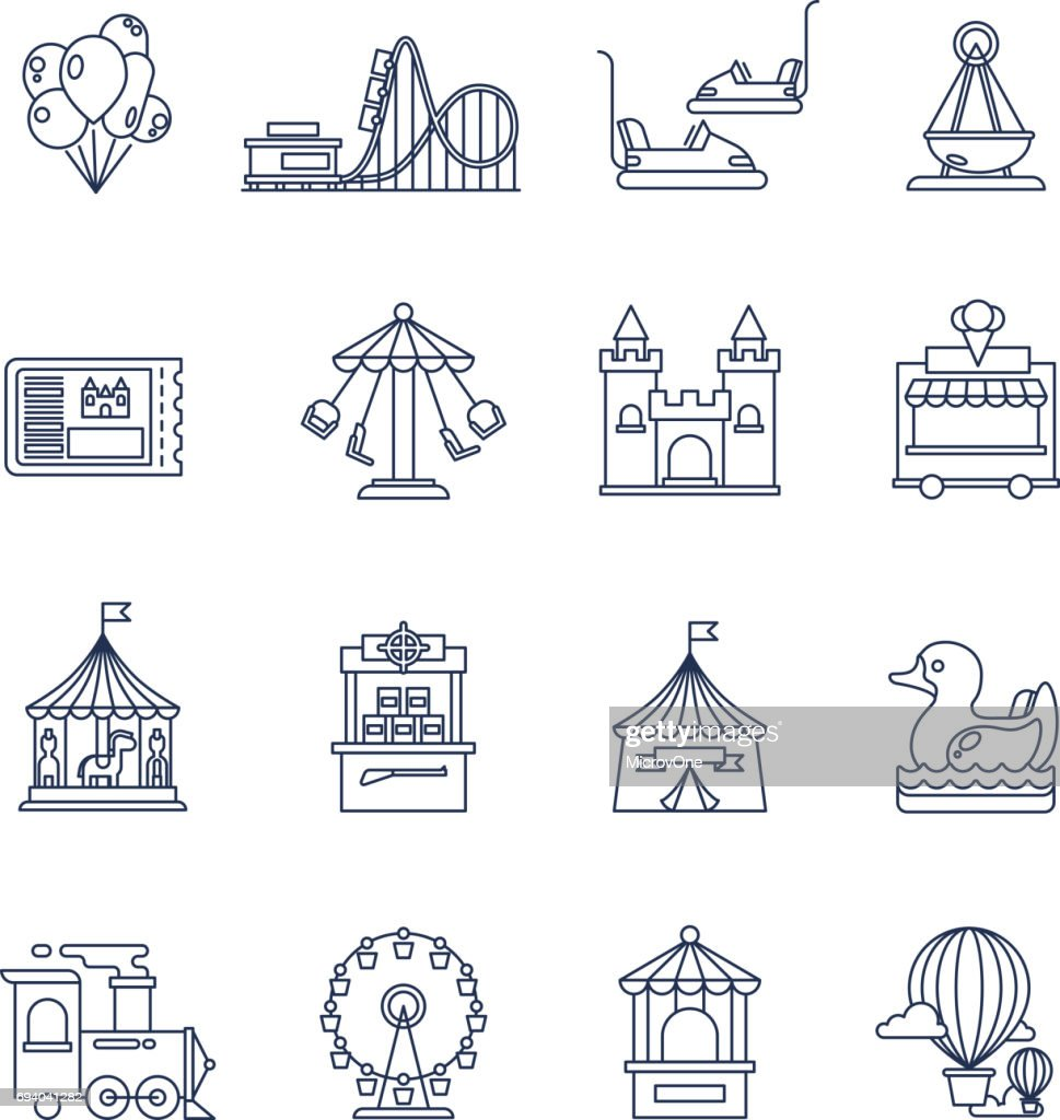 Luna park amusement line vector icons