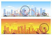 Luna park concept. Amusing entertainment amusement  colored background vector illustration