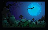Lunar landscape on the theme of Halloween