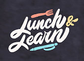 Lunch and learn. Vector lettering.
