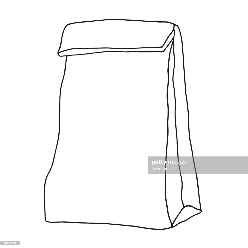 Lunch bag. Paper bag. Container. Hand drawn graphic illustration.