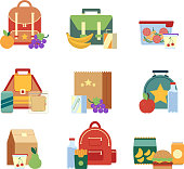 Lunch box and bag with healthy food for kids. Vector illustrations in flat style
