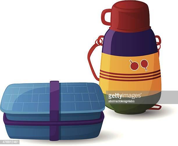 Lunch-Box und Flasche Wasser