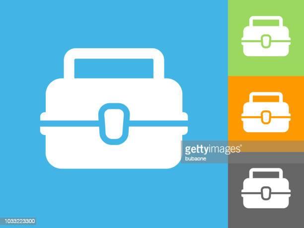 Lunch Box flach Symbol auf blauem Hintergrund