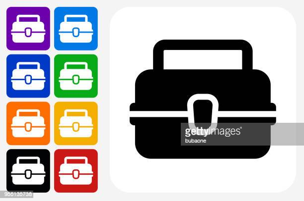lunch box icon square button set - lunch break stock illustrations, clip art, cartoons, & icons