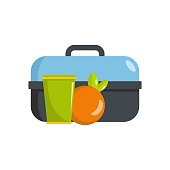 Lunch in box icon, flat style