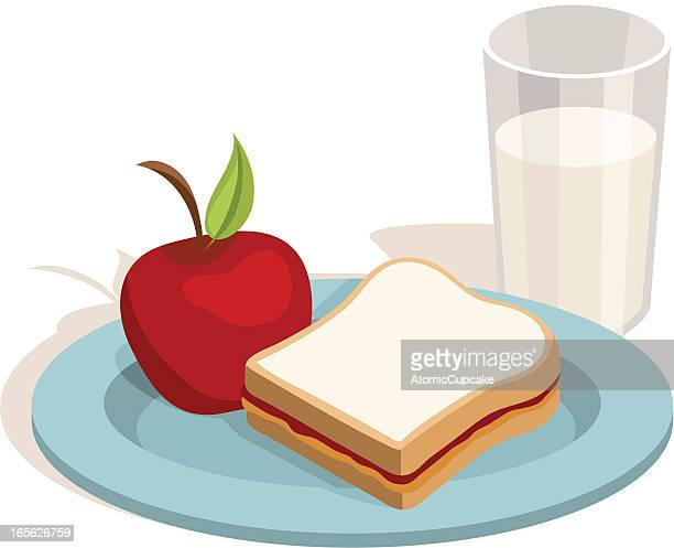 lunch: peanut butter and jelly sandwich with apple, milk - peanut butter and jelly sandwich stock illustrations