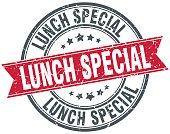 lunch special round grunge ribbon stamp