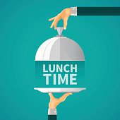 Lunch time concept with cloche lid cover in flat style