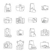 Lunchbox food icons set, outline style