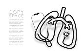 Lung shape made from Stethoscope cable black color and Medical Science Organ concept design illustration isolated on white background, with copy space vector eps 10