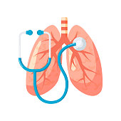 Lungs diagnostic vector design in flat style