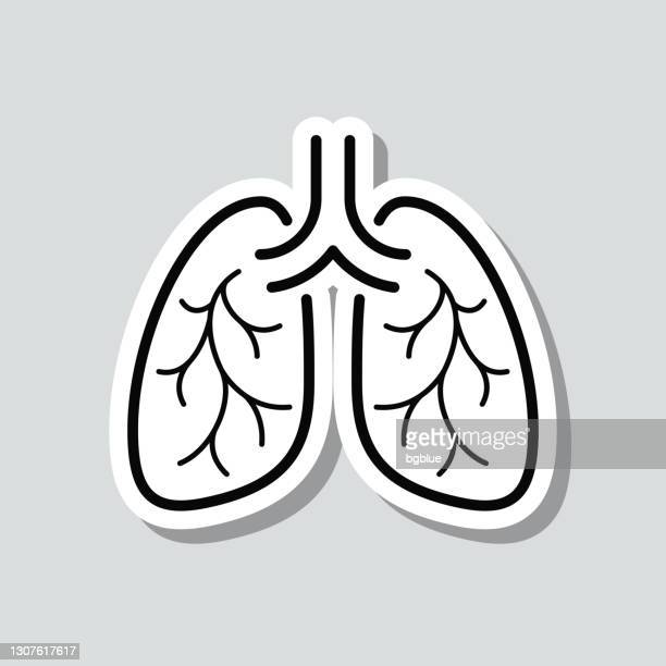lungs. icon sticker on gray background - asthmatic stock illustrations