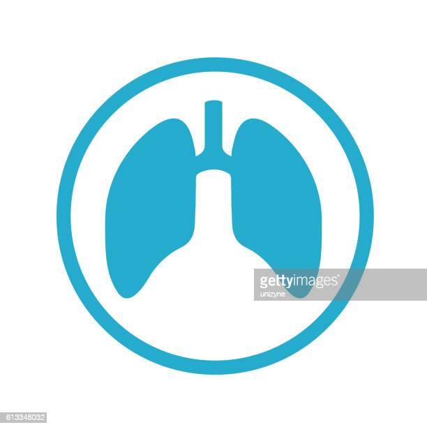 ilustraciones, imágenes clip art, dibujos animados e iconos de stock de los pulmones icono - sistema respiratorio