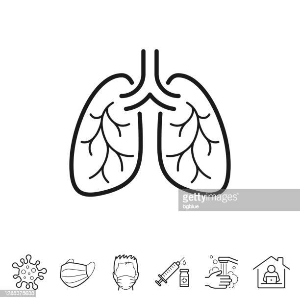 lungs. line icon - editable stroke - asthmatic stock illustrations