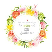 Lush bright summer flowers vector design frame. Colorful floral objects