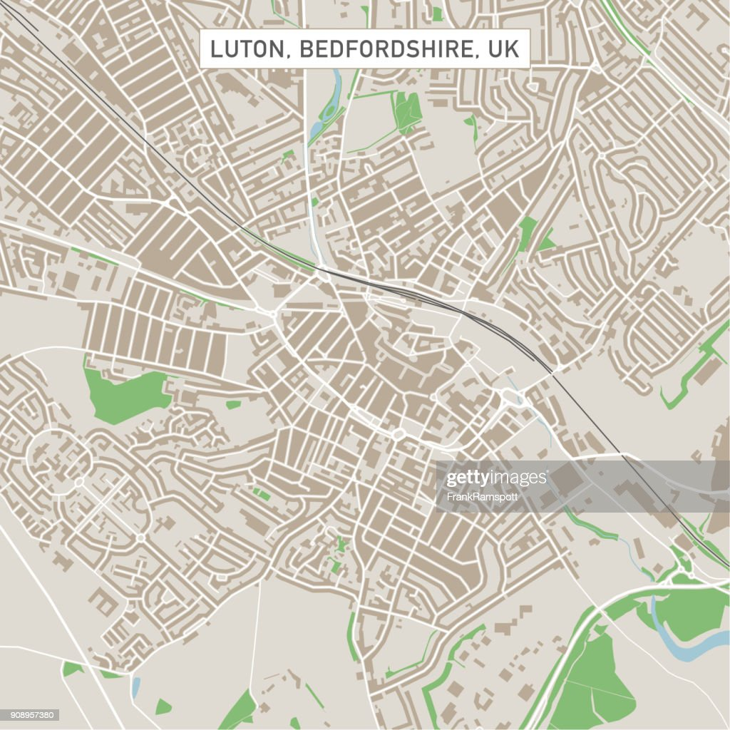 luton bedfordshire uk city street map vector art