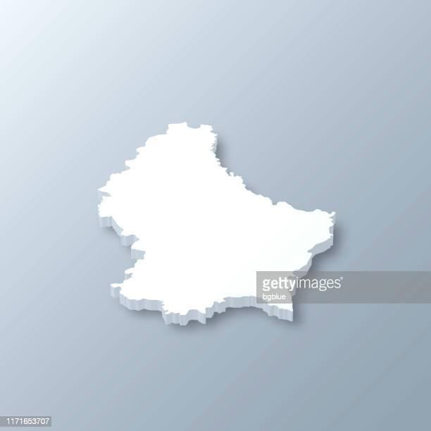 stockillustraties, clipart, cartoons en iconen met luxemburg 3d-kaart op grijze achtergrond - luxemburg stad luxemburg