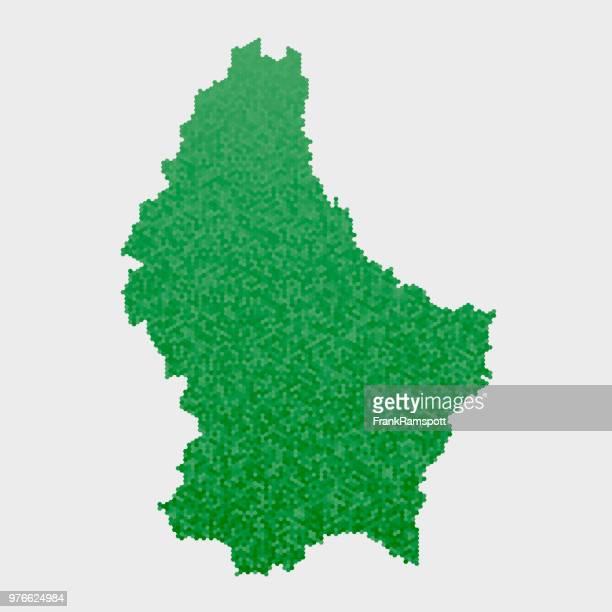 Luxemburg-Land-Map-grünen Sechseck-Muster