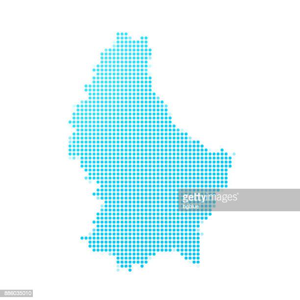 Luxembourg map of blue dots on white background