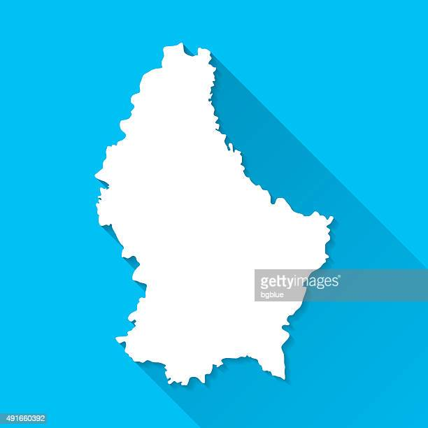 Luxembourg Map on Blue Background, Long Shadow, Flat Design