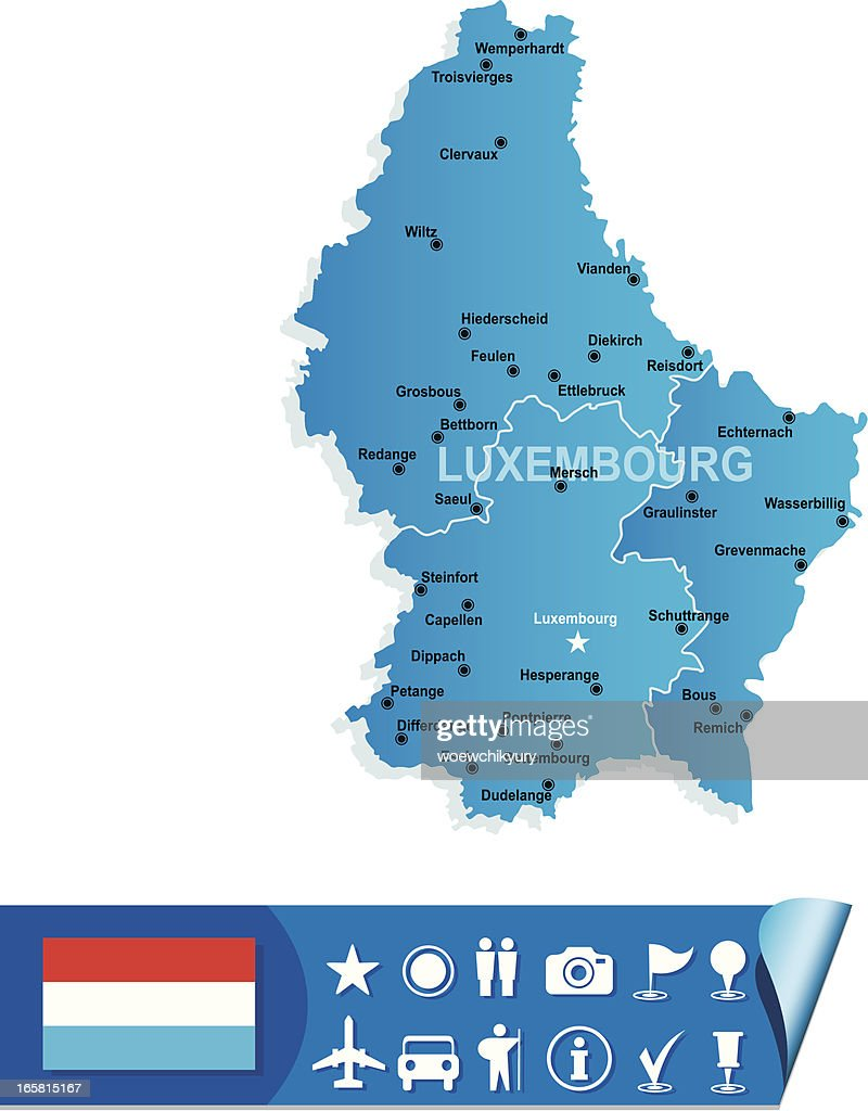 Luxembourg Map Vector Art Getty Images - Luxembourg map vector