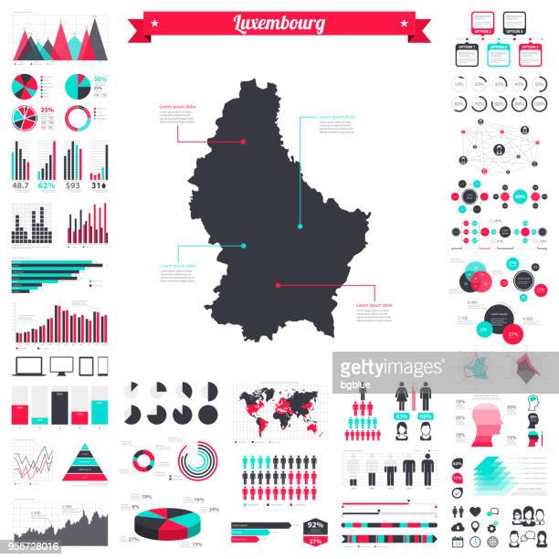 Luxembourg map with infographic elements - Big creative graphic set