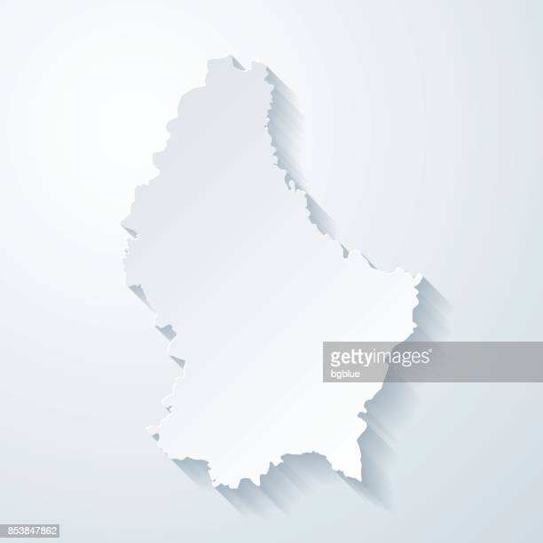 Luxembourg map with paper cut effect on blank background