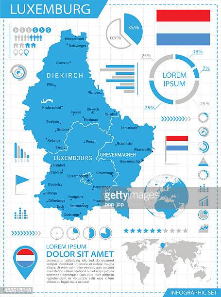 Luxemburg - infographic map - Illustration