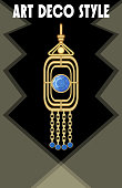 Luxurious art deco jewel, earring with blue gems sapphire , victorian old-fashioned style, antique gold