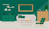 Luxurious interior design with beige sofa, metal coffee table on the background of the green wall. Vector flat illustration