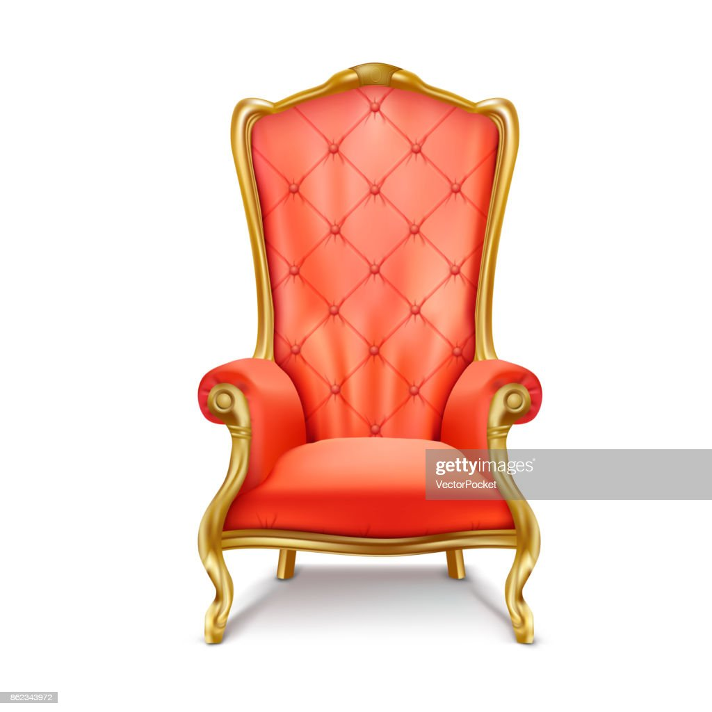 Luxurious royal red throne realistic vector