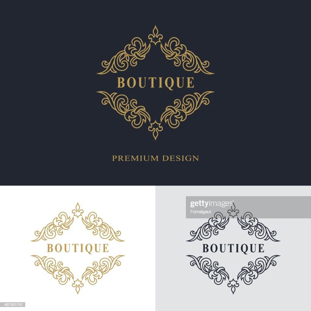 Luxe Abstract Monogram Modele Gracieux Conception Dart Calligraphique Ligne Elegante Signe Dembleme Pour Restaurant Royaute Carte De Visite Badge