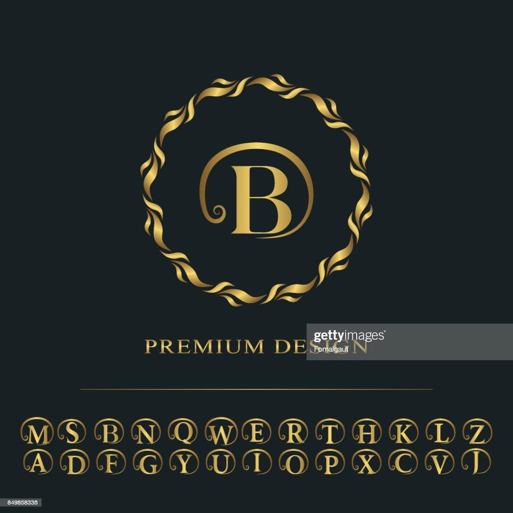 Conception Dart Calligraphique Ligne Elegante Lettre Signe Embleme B Pour Restaurant Royaute Carte De Visite Badge Boutique Hotel Heraldique