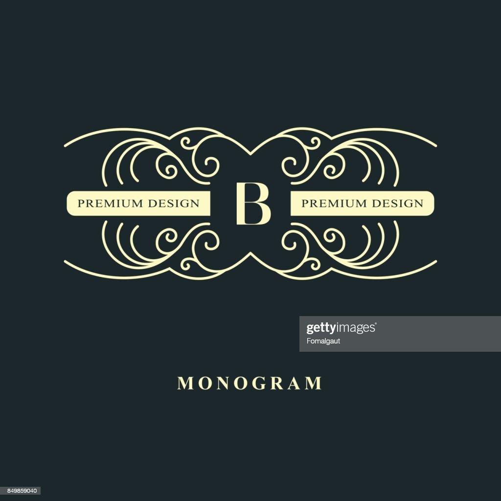 Luxury Abstract Monogram Graceful Template Calligraphic Elegant Line ...
