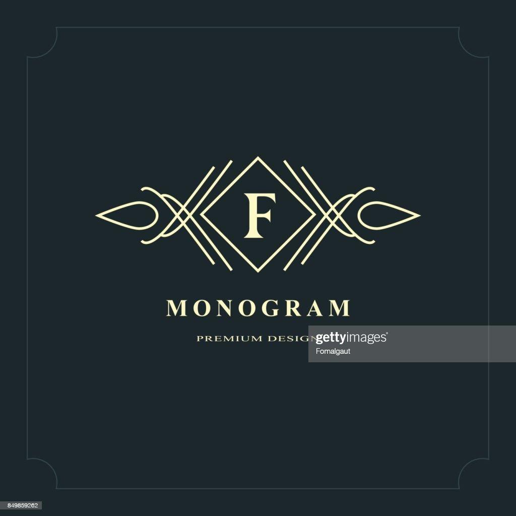 Conception Dart Calligraphique Ligne Elegante Lettre Signe Embleme F Pour Restaurant Royaute Carte De Visite Badge Boutique Hotel Heraldique