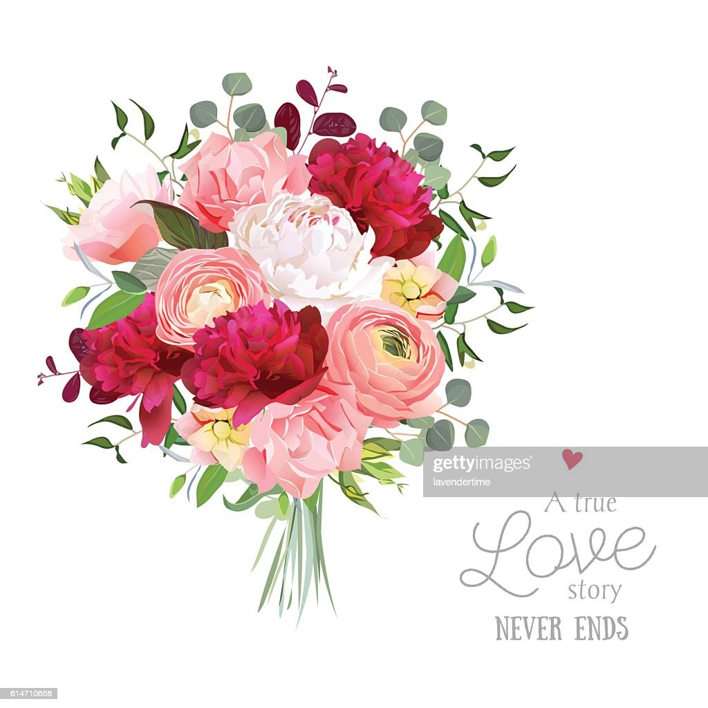 Luxury autumn vector bouquet with ranunculus, peony, rose, carnation