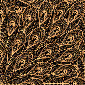 Luxury background vector. Gold black peacock feathers royal pattern seamless. Indian oriental design for yoga wallpaper, beauty spa salon ornament, bridal wedding party card, birthday wrapping paper.
